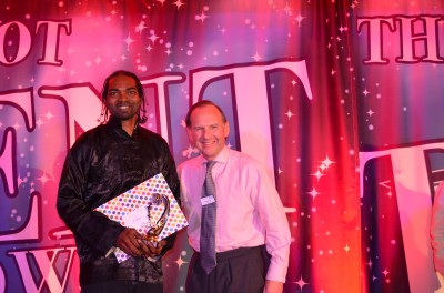 Winner Rick Dragon with Chairman Richard Samuda