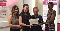 (L-R) Emma Hunstone, Cancer Support Manager, Susanna Glover, Breakthrough Breast Cancer, Sue Frost, Macmillan Lead Breast Care Nurse, Doreen Cox, Breast Care Consultant
