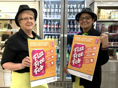 Canteen staff help to promote Fizz Free February