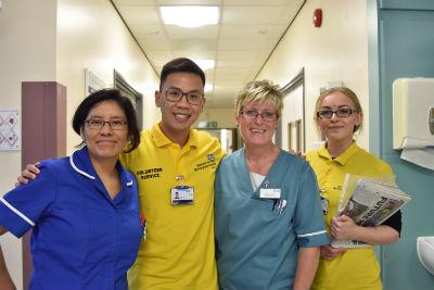 Helpforce volunteers with nursing staff