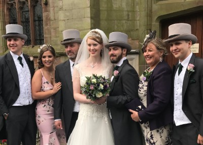 Jo Garvey transplant patient who had sight saving surgery, is pictured with her family on her son's wedding day.