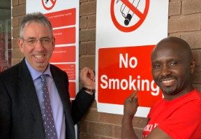 Duncan Selbie, CEO of Public Health England, visits Sandwell Hospital after the Trust goes smokefree.