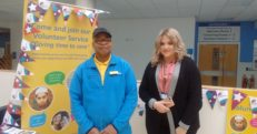 Trevor a Volunteer at our Trust with Chloe Hames a Volunteer Service apprentice. Both are at a recruitment event raising awareness of the Volunteer Service