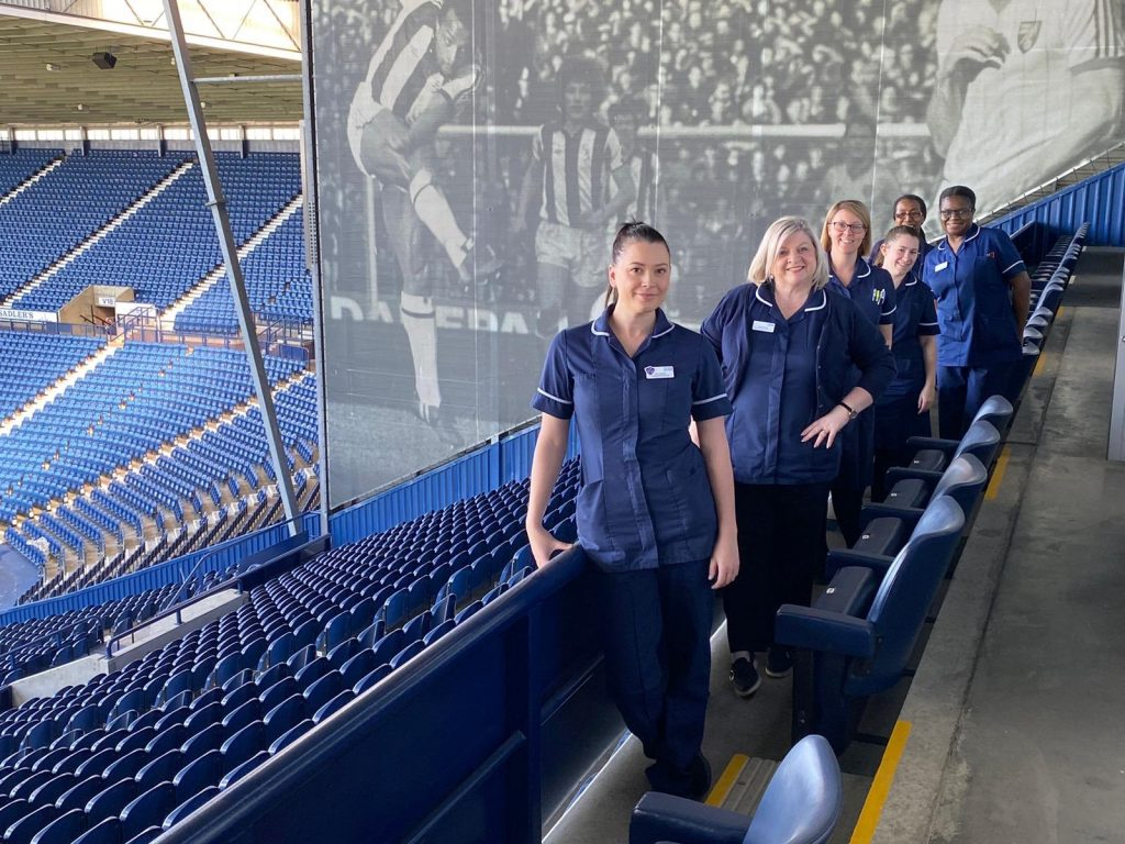Midwives at West Bromwich Albion who have been delivering care to pregnant and postnatal women. West Bromwich Albion has donated the space to the Trust for free.