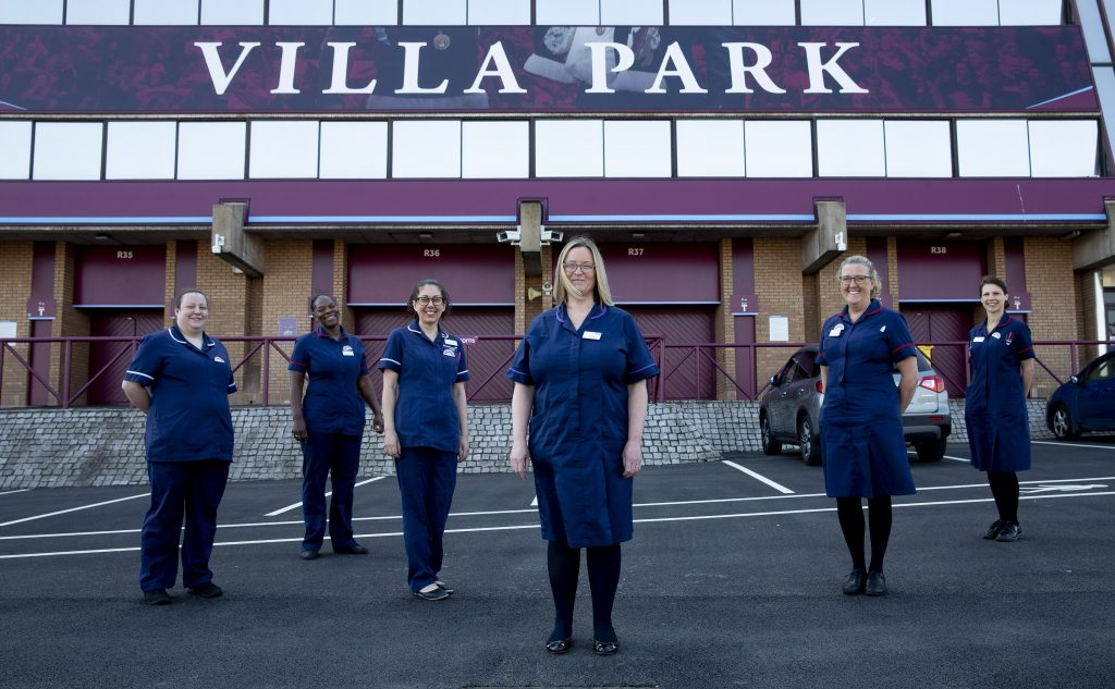 The maternity team at Villa Park, where they have been delivering care to pregnant and post natal women. Aston Villa has donated the space to the Trust for free.