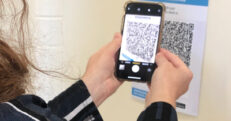 An example of how the QR code can be scanned to check in at our hospital sites