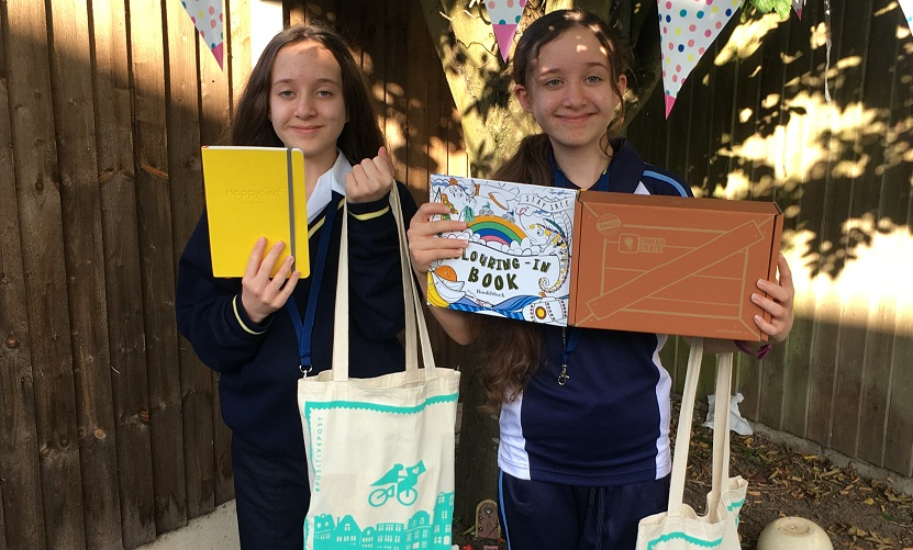 Amy and Emily Doherty with their goody bags from Bookblock