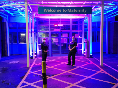 Ann Minto and Victoria Weaver outside the Maternity Department at City Hospital which has been lit up to mark Baby Loss Awareness Week