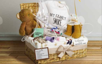 An example of a hamper which would be given to a pregnant woman who smokes.