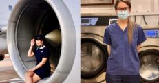 Emma Whitehouse was working as a flight attendant but when COVID struck, all flights were grounded and she is now working at Sandwell Hospital for the laundry service.