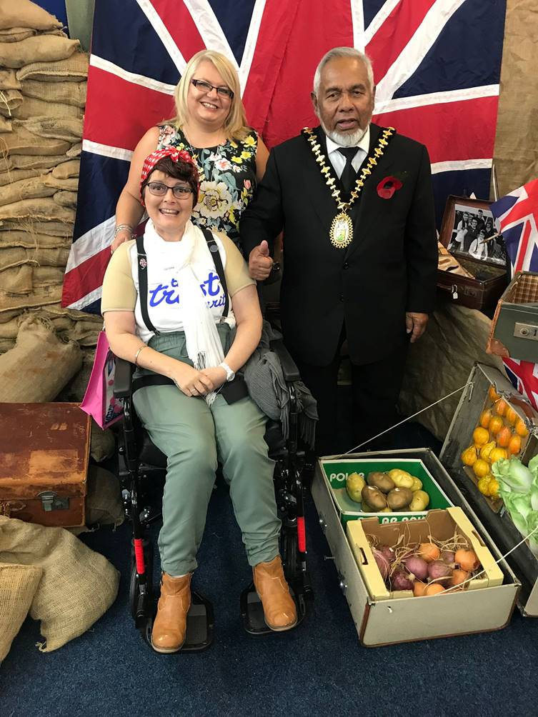 Sally Gutteridge at the 1940s event with Amanda Winwood and Coun Haque, former Mayor of Sandwell.