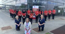 The RCN cadets are pictured here outside the Birmingham Treatment Centre at City Hospital