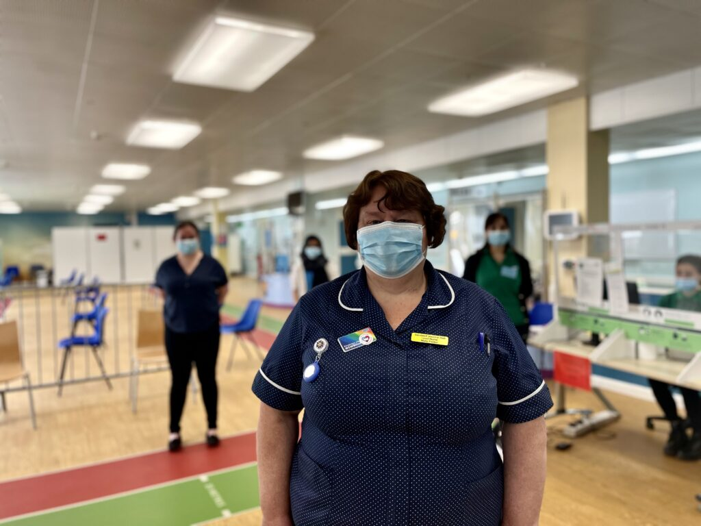 Mary Parker, lead nurse at the walk-in COVID vaccination hub at City Hospital, which is part of the Trust's response to the pandemic.