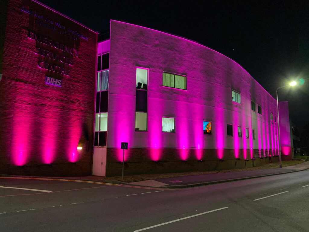 Sandwell Hospital is lit up as part of Organ Donation Week